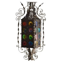 20th Century Venetian Wrought Iron Lantern, Multicolored Stained Glass Disks