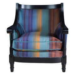 20th Century Venezuelan Tub Chair in Custom Striped Velvet