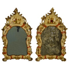 20th Century, Venice Arte Povera Lacquered Wood, Pair of Wall Mirrors