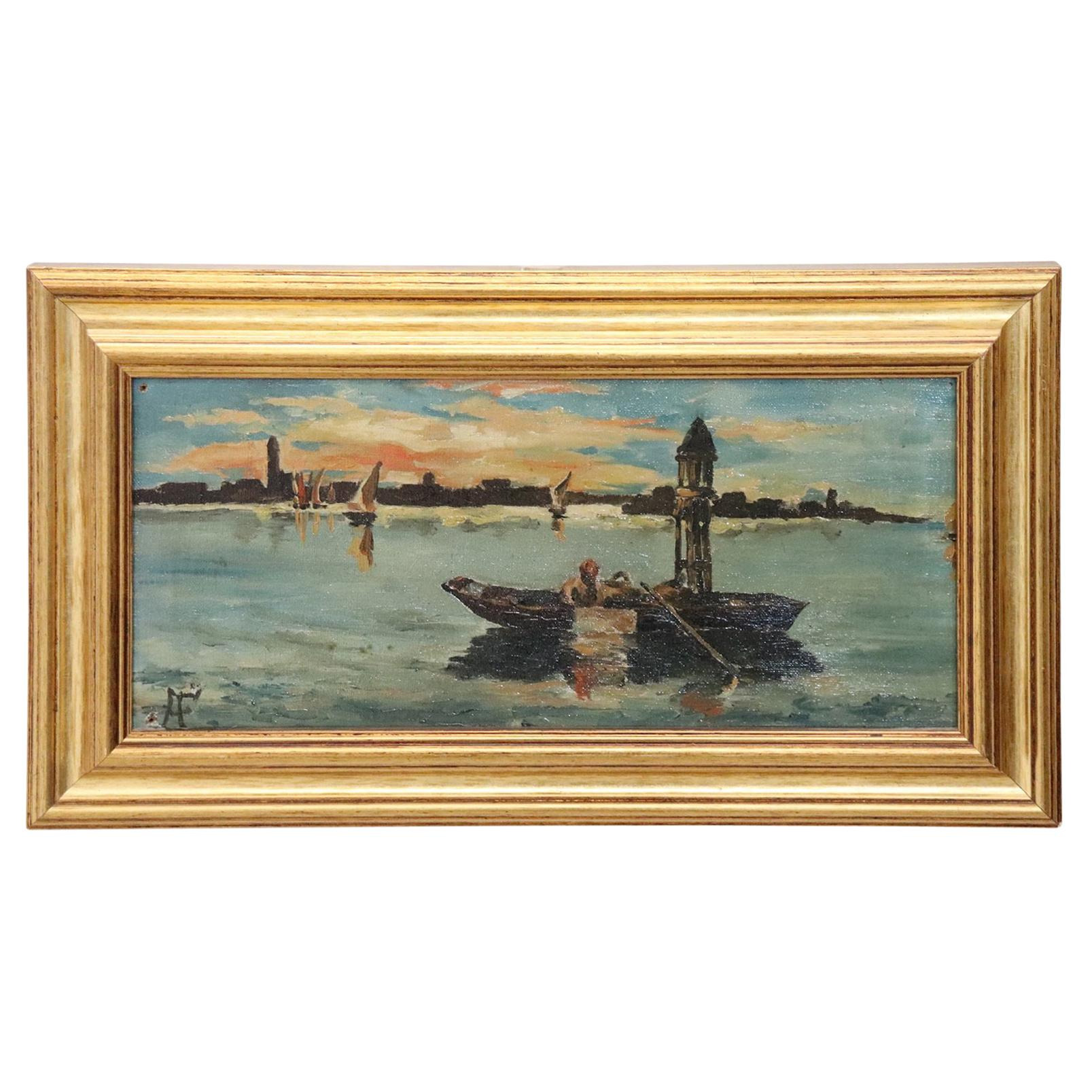 20th Century Venice Oil Painting on Canvas with Golden Frame