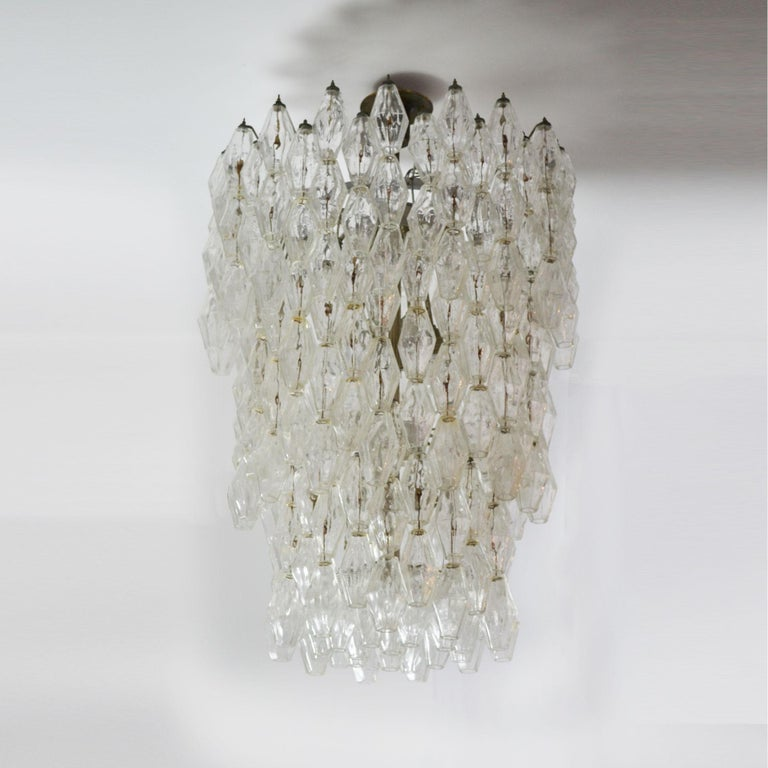 Mid-Century Modern 20th Century Venini Chandelier Collection Poliedri in Murano Glass For Sale