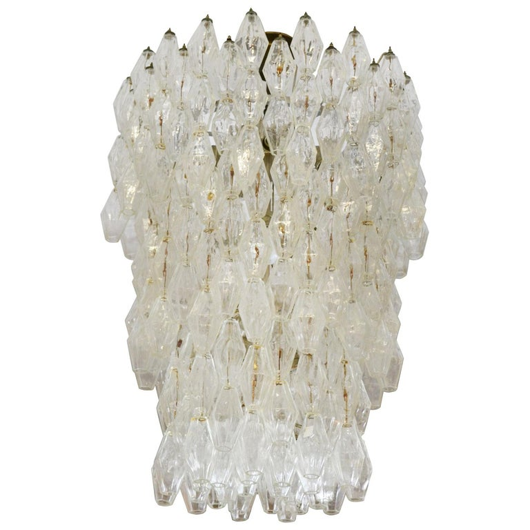 20th Century Venini Chandelier Collection Poliedri in Murano Glass For Sale