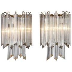 20th Century Venini Wall Lights Sconces in Murano Glass