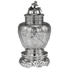 20th Century Victorian Solid Silver Chinoiserie Tea Caddy, London, circa 1900
