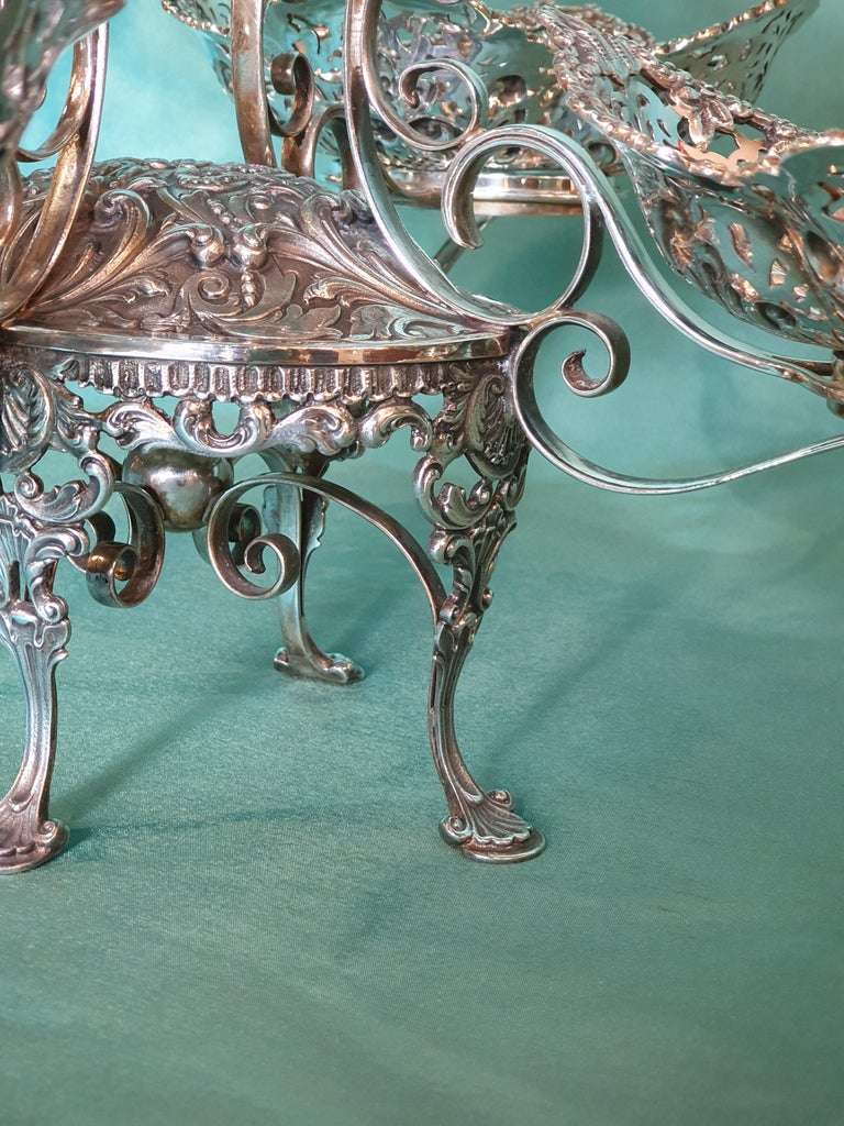 20th Century Victorian Style Handcrafted Sterling Silver Epergne, Italy, 1998 For Sale 7