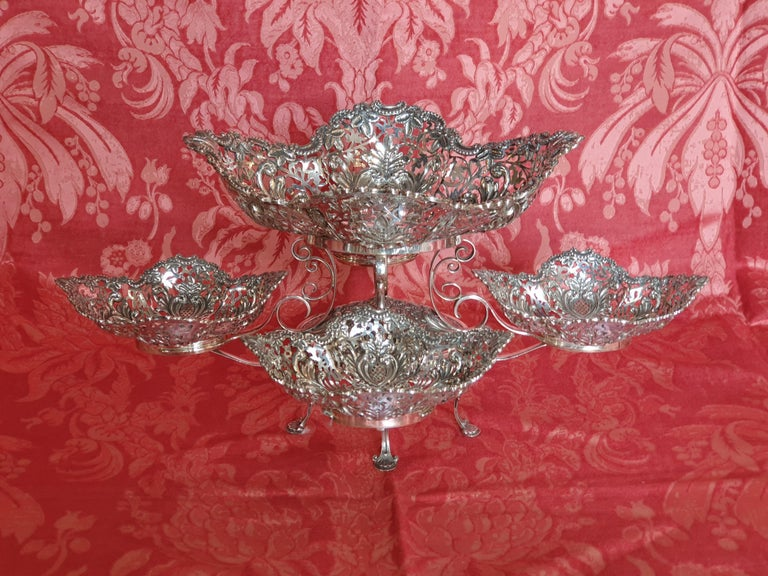 Italian 20th Century Victorian Style Handcrafted Sterling Silver Epergne, Italy, 1998 For Sale