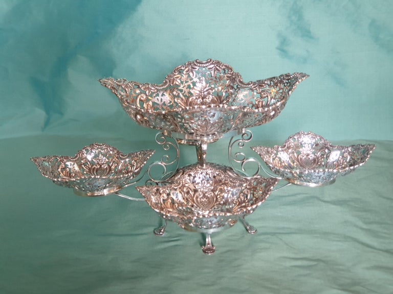 Hand-Crafted 20th Century Victorian Style Handcrafted Sterling Silver Epergne, Italy, 1998 For Sale