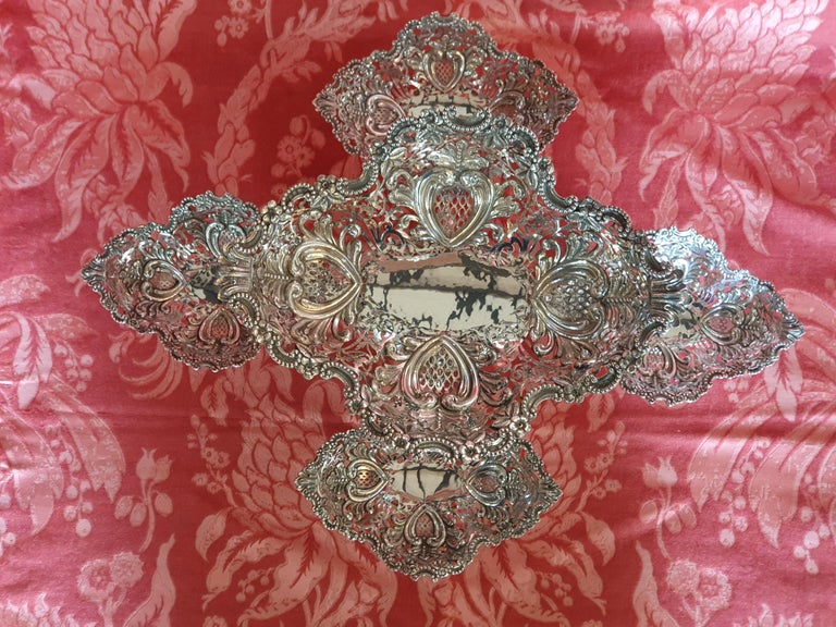 Late 20th Century 20th Century Victorian Style Handcrafted Sterling Silver Epergne, Italy, 1998 For Sale