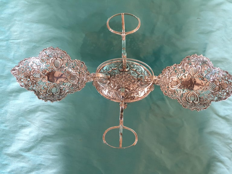 20th Century Victorian Style Handcrafted Sterling Silver Epergne, Italy, 1998 For Sale 1