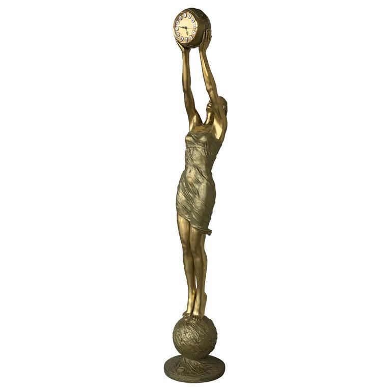 """20th C. Vidal Grau ***77"""" Real Size Art Noveau Gilt Bronze WomanClock  Sculpture For Sale"""