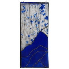 20th Century Vintage Abstract Stained Glass Landscape Panel Blue Mountain