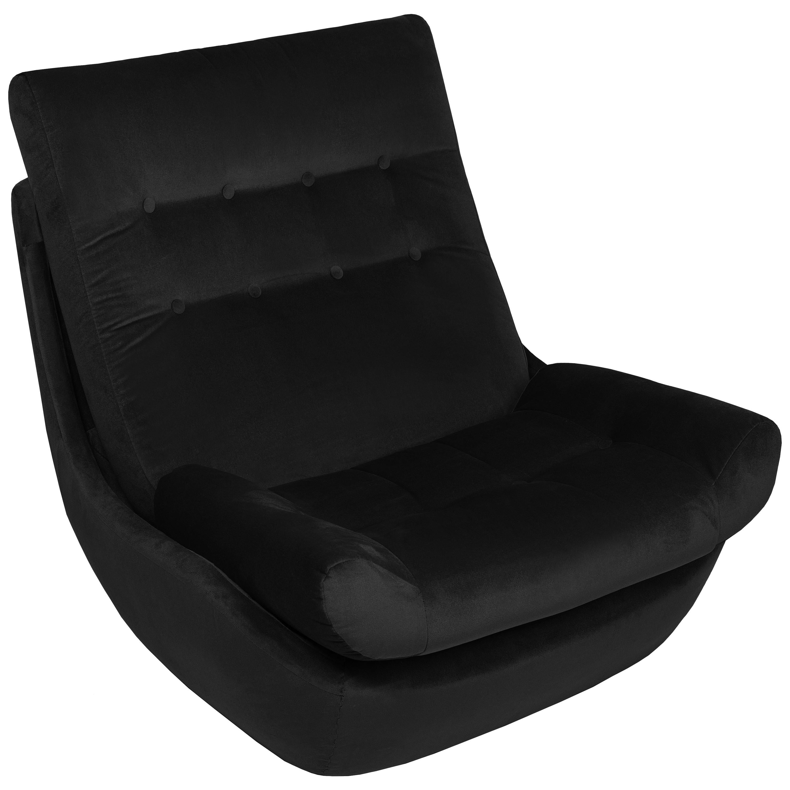 20th Century Vintage Black Velvet Giant Atlantis Armchair, 1960s