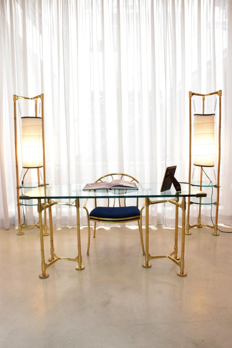 20th Century Vintage Brass Bamboo Desk or Console, 1970s For Sale 13