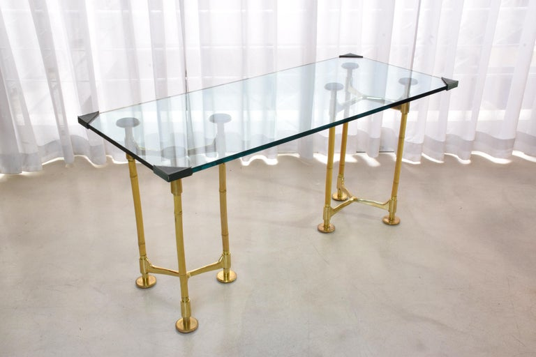 Mid-Century Modern 20th Century Vintage Brass Bamboo Desk or Console, 1970s For Sale