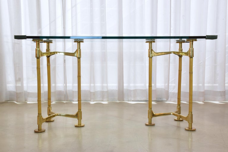 Italian 20th Century Vintage Brass Bamboo Desk or Console, 1970s For Sale