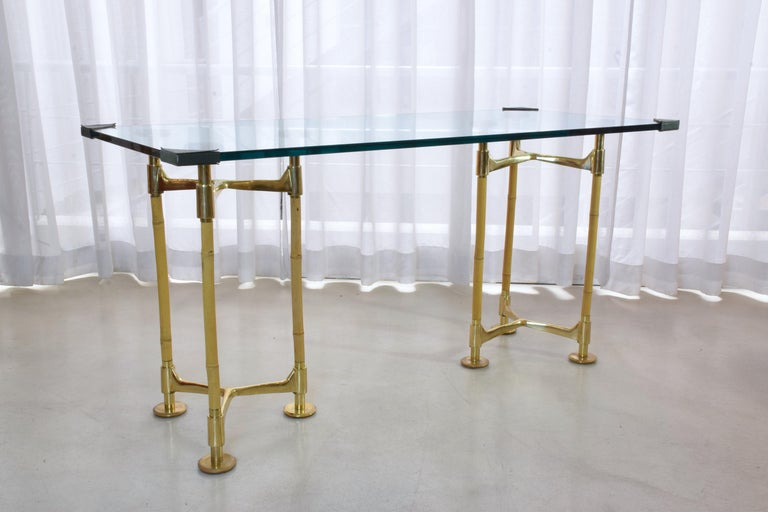 20th Century Vintage Brass Bamboo Desk or Console, 1970s In Good Condition For Sale In Paris, FR