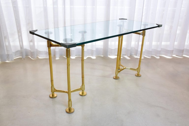 20th Century Vintage Brass Bamboo Desk or Console, 1970s For Sale 1