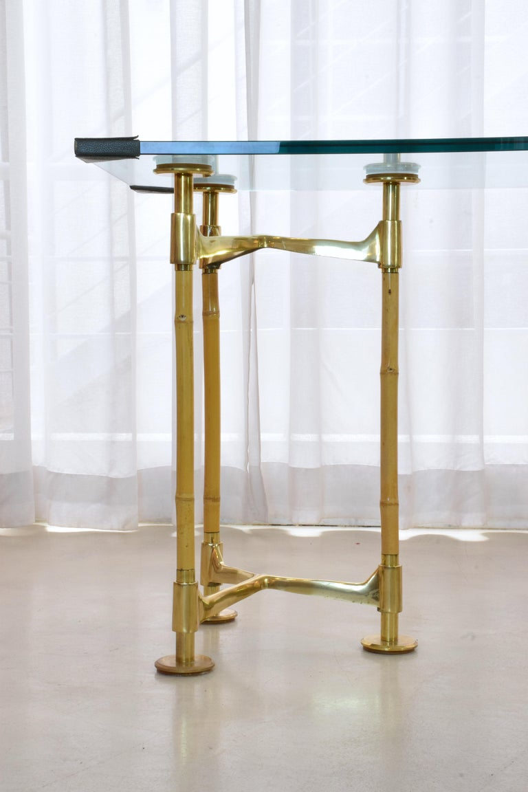 20th Century Vintage Brass Bamboo Desk or Console, 1970s For Sale 3