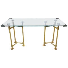 20th Century Vintage Brass Bamboo Desk or Console, 1970s