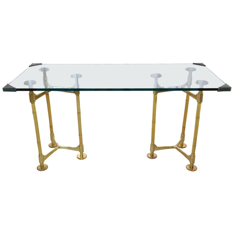 20th Century Vintage Brass Bamboo Desk or Console, 1970s For Sale
