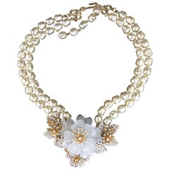 20th Century Vintage Camellia and Pearl Costume Necklace, Probably Hagler