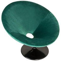 20th Century Vintage Dark Green Swivel Armchair, 1960s