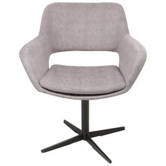 20th Century Vintage Grey Velvet Swivel Armchair, 1960s