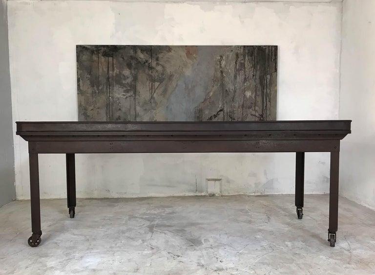 20th Century Vintage Industrial Steel Table Kitchen Island Worktable Centerpiece For Sale 6