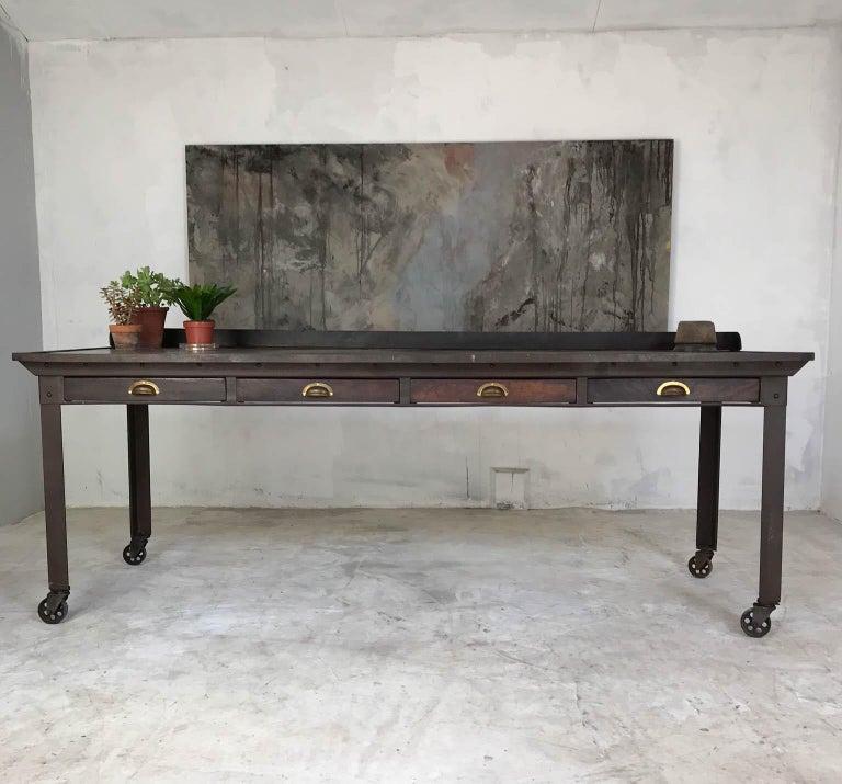 20th Century Vintage Industrial Steel Table Kitchen Island Worktable Centerpiece For Sale 7