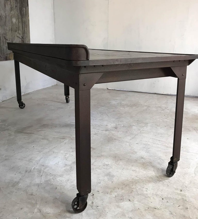 English 20th Century Vintage Industrial Steel Table Kitchen Island Worktable Centerpiece For Sale