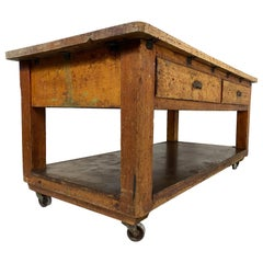 20th Century Vintage Industrial Workbench Baker's Table Kitchen Island Worktable