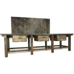 20th Century Vintage Industrial Workbench Kitchen Island Loft Warehouse Zinc Top