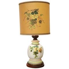 20th Century Vintage Italian Hand Painting Ceramic Table Lamp