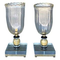 20th Century Vintage Italian Pair of Murano Glass Table Lamps by Nardo