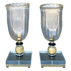 20th Century Italian Vintage Pair of Authentic Murano Glass Table, Desk Lamps