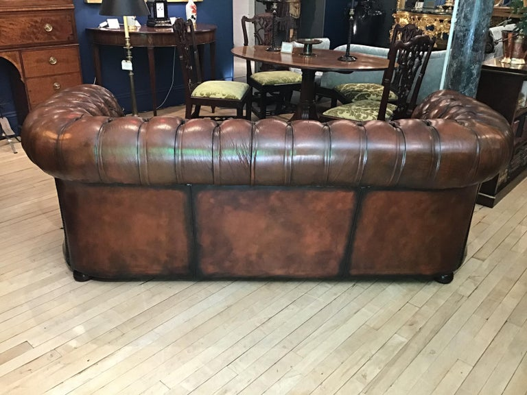 20th Century Vintage Leather Chesterfield Three Seater Sofa, in Rich Nutty Brown For Sale 6