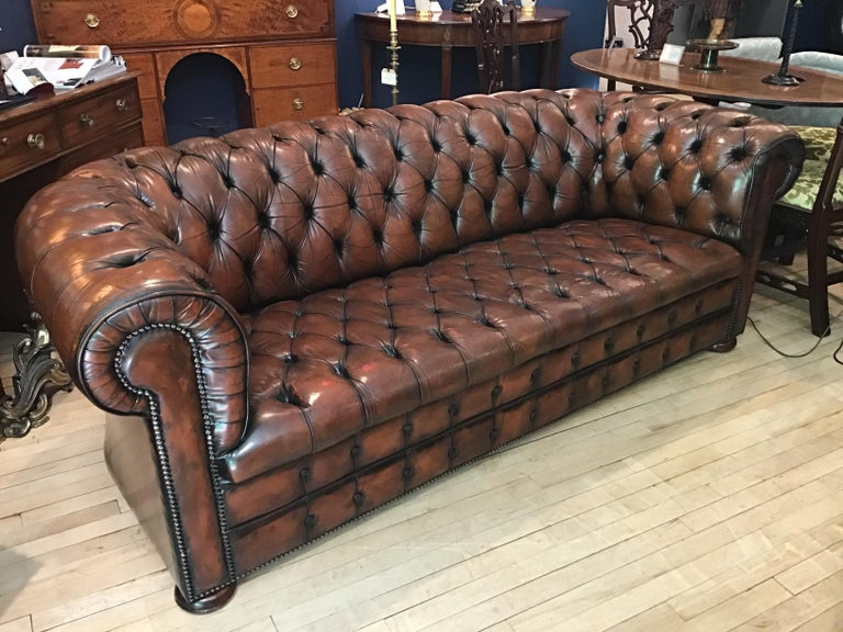 20th Century Vintage Leather Chesterfield Three Seater Sofa, in Rich Nutty Brown For Sale 9
