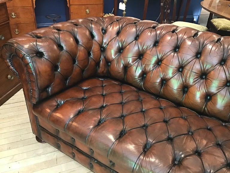 English 20th Century Vintage Leather Chesterfield Three Seater Sofa, in Rich Nutty Brown For Sale