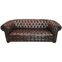 20th Century Vintage Leather Chesterfield Three Seater Sofa, in Rich Nutty Brown
