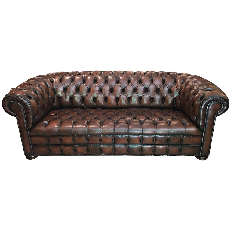 20th Century Vintage Leather Chesterfield Three Seater Sofa, in Rich Nutty Brown For Sale