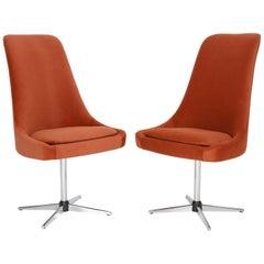 20th Century Vintage Orange Ochra Velvet Swivel Armchair, 1960s
