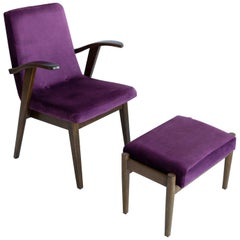 20th Century Vintage Plum Violet Armchair and Stool by Mieczyslaw Puchala, 1960s