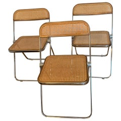 20th Century Vintage Rattan Plia Chairs by Giancarlo Piretti for Castelli