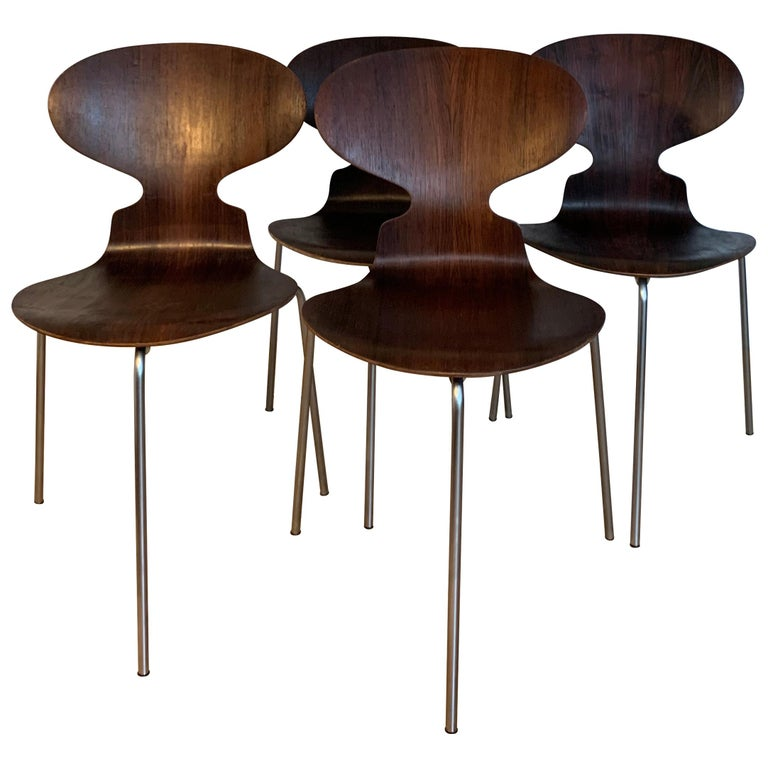 20th Century Vintage Rosewood Ant Chairs by Arne Jacobsen for Fitz Hansen For Sale