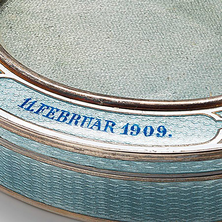 20th Century Vintage Silver and brass Blue/Baby Enamel Frame Insert Box Made in Germany Dated February 1909 Length: 3.25 inch Width: 2.5 inch Height: 0.75 inch