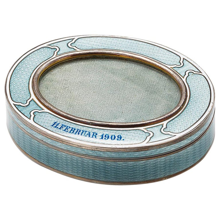 20th Century Vintage Silver Blue/Baby Enamel Frame Insert Box For Sale