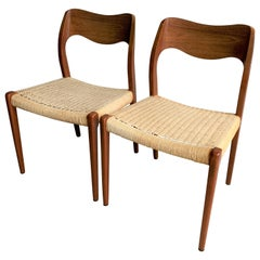 20th Century Vintage Teak Paper Cord No.71 Dining Chairs by Niels O. Møller