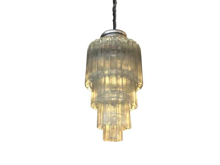 Mid-Century Modern 20th Century Vintage Tiered Murano Chandelier For Sale
