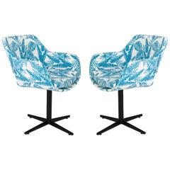 20th Century Vintage White and Blue Leaves Velvet Swivel Armchair, 1960s