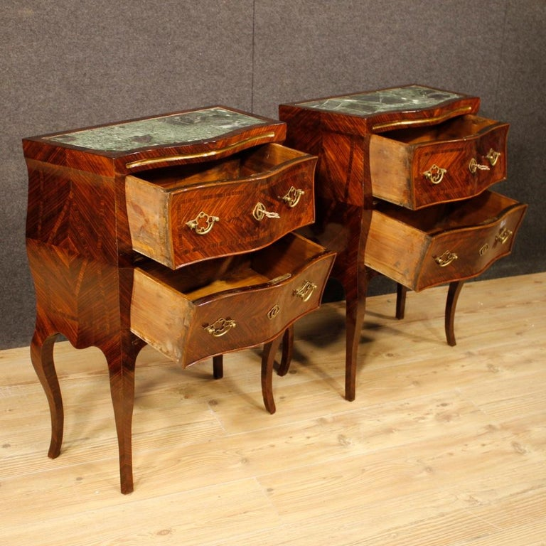 20th Century Violet Wood Inlaid Pair of Italian Bedside Tables, 1920 For Sale 5